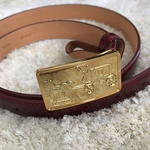VINTAGE COACH MEDIUM BELT - CRANBERRY + GOLD